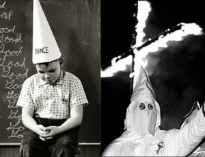 Stupidity and racism. Note the similar hats.