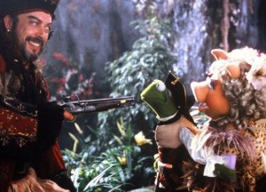 He's threatening Kermit the Frog. How the fuck do people think pirates are anything but bastards?