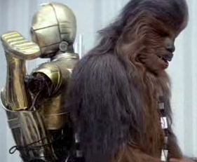C-3PO survived, but would have to be carried on the back of a large, developmentally disabled creature to get around.