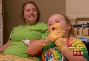 "A photo for which the caption actually reads: ""Cheese beard: Honey Boo Boo tried to eat more cheese than she could handle"""