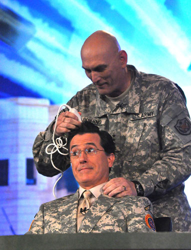 I have no caption for this, I just thought it was awesome when he let General Odierno shave his head.