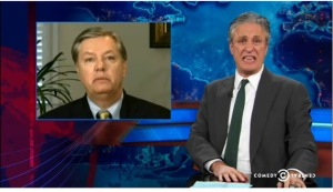 Or maybe he's just impersonating Jon Stewart's impersonation of Lindsey Graham. I do declare!